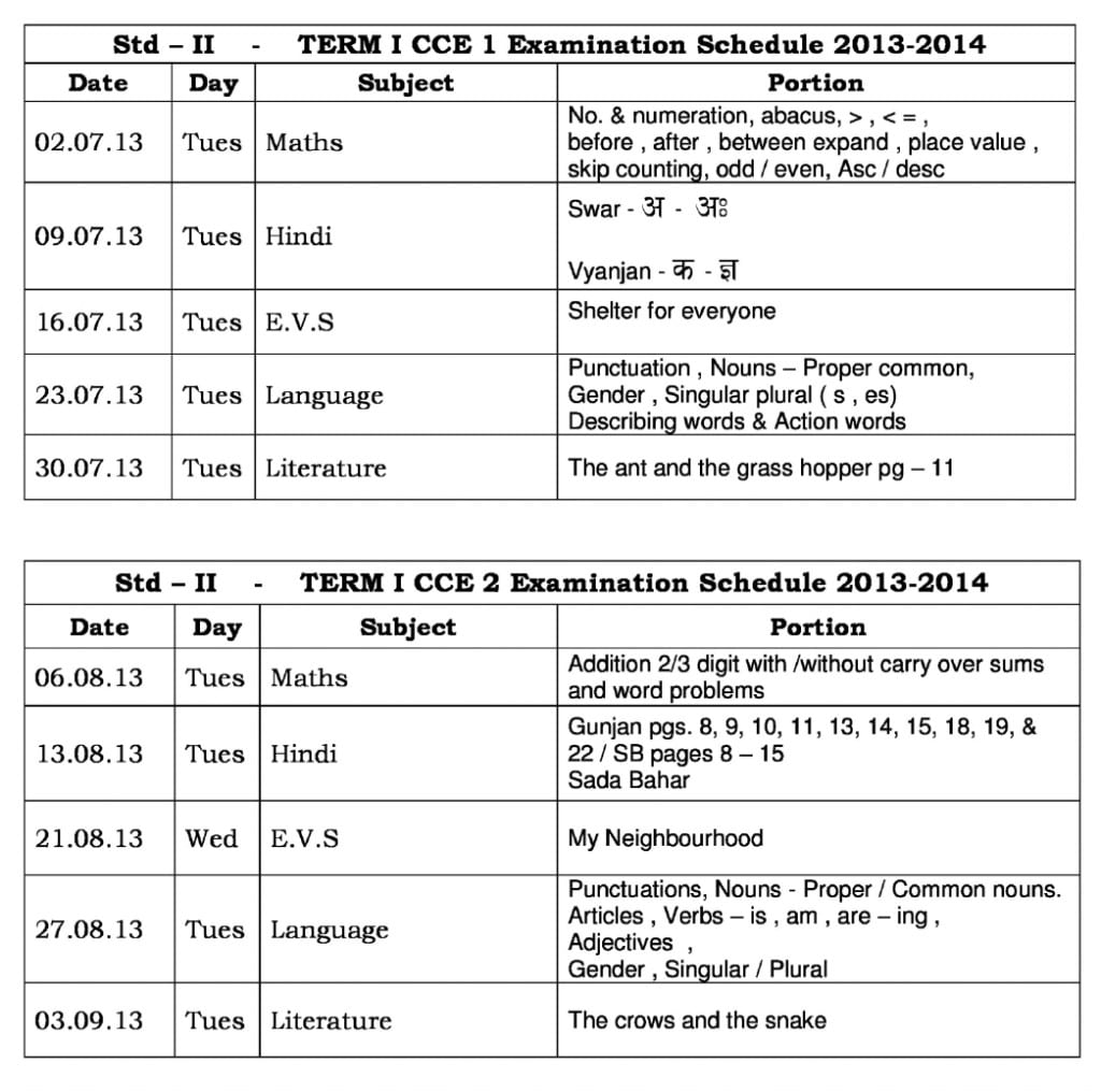 Universal High – CCE-1: Term I – Examination Schedule-2013-14 for Std. II