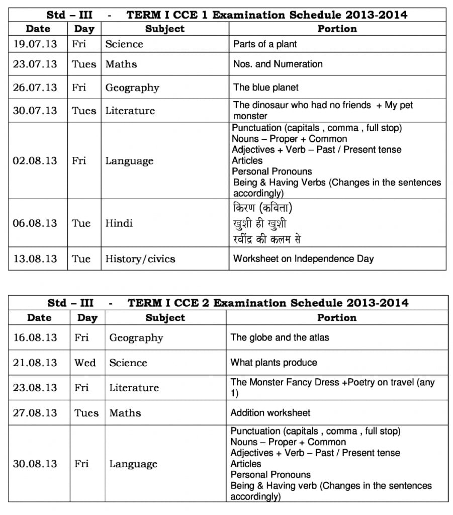 Universal High-CCE-1: Term – 1 – Examination Schedule for Std. III