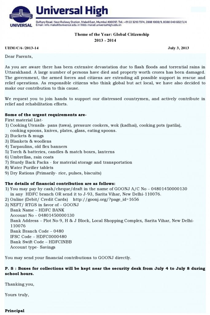 Universal High: Uttarakhand Relief Efforts.