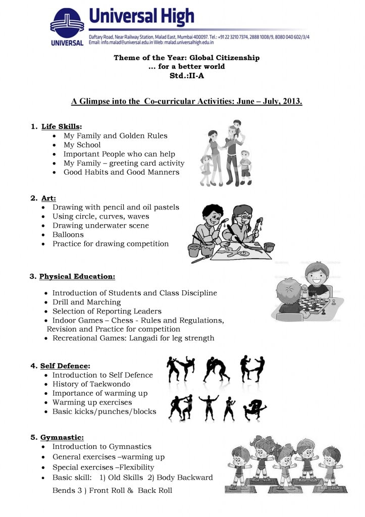 Std. II A – A Glimpse into the  Co-curricular Activities: June – July, 2013.