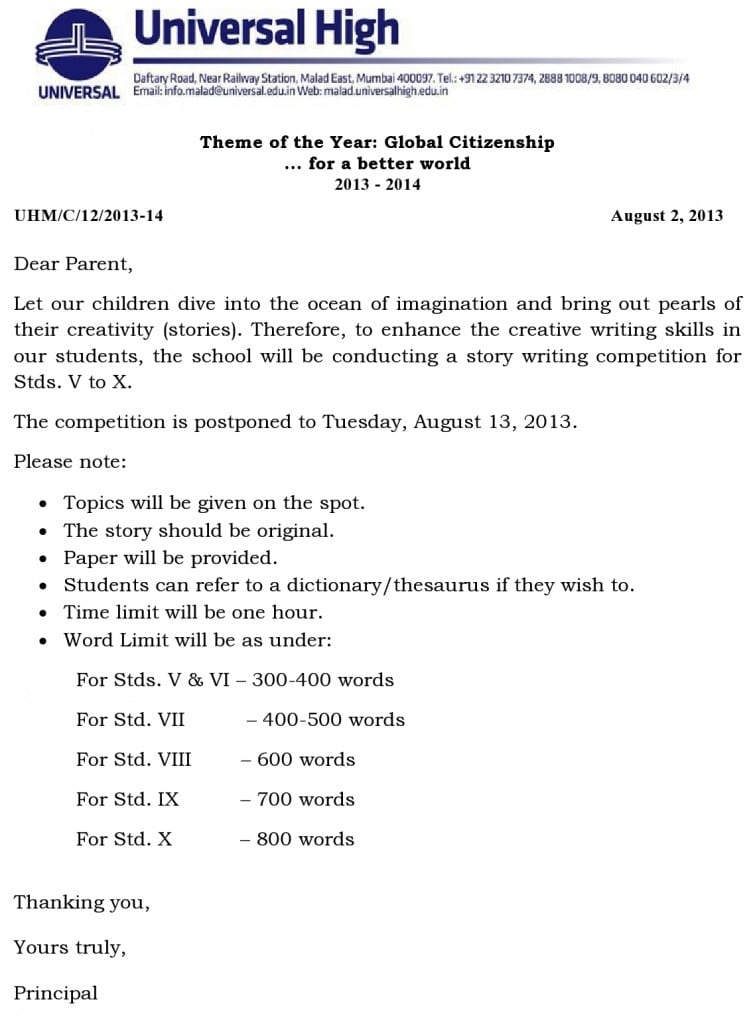 Stds. V to X – Story Writing Competition
