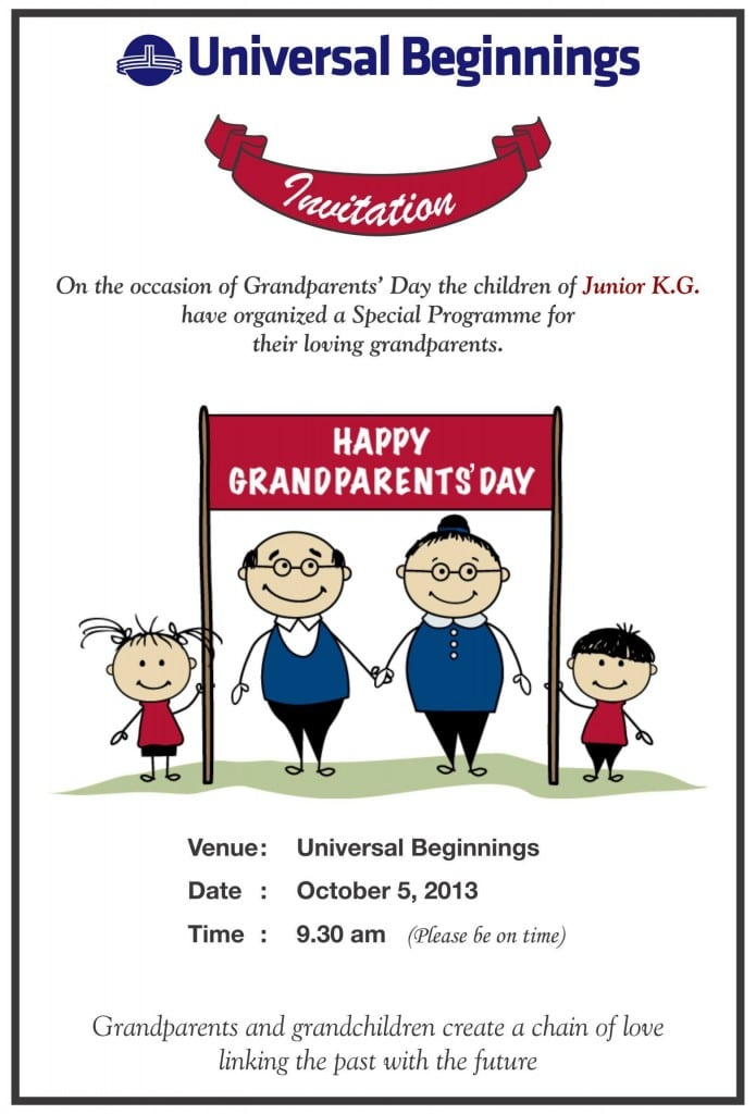 Jr. Kg.: 'Grandparents Day' invitation card