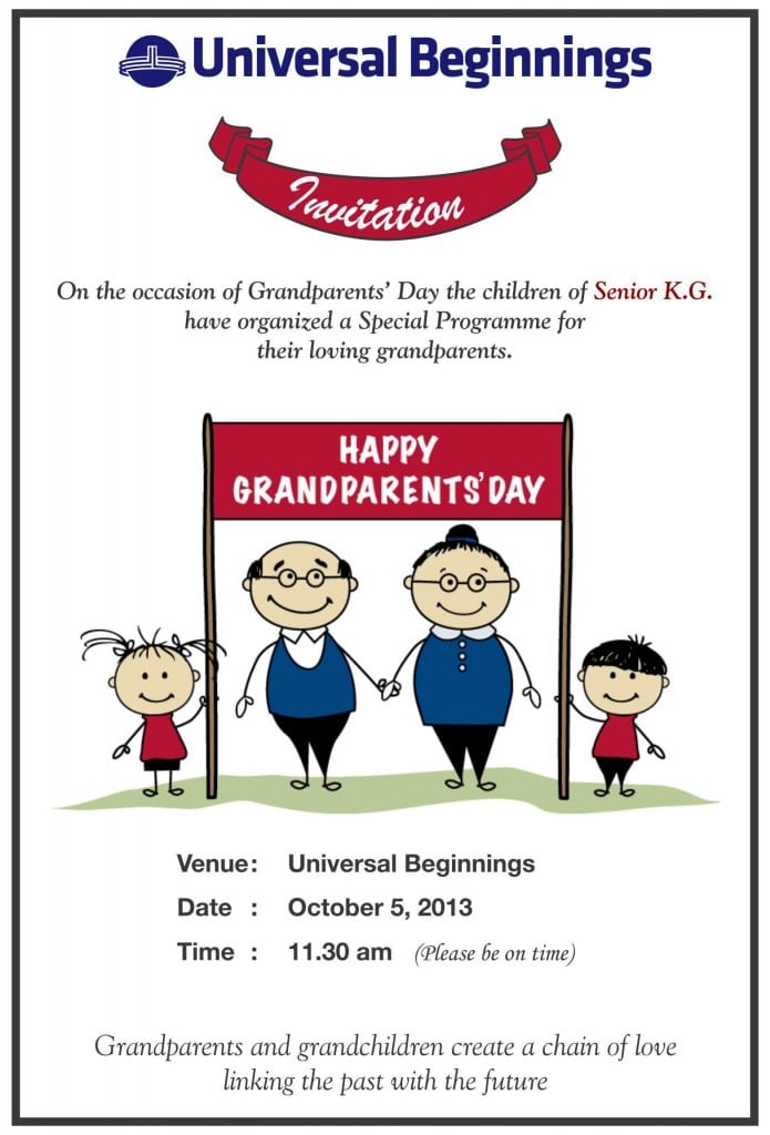 Sr. Kg.: 'Grandparents Day' invitation card