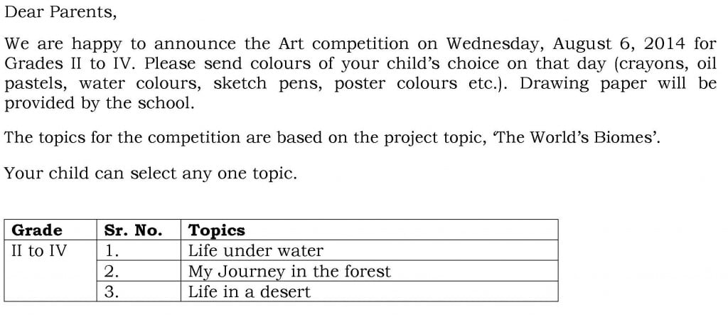 Circular for Art Competition – Grade II to IV.