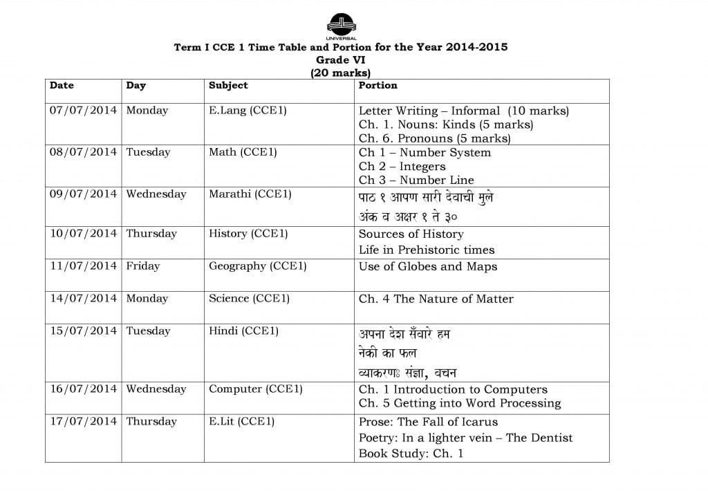 Grade VI – Term I – CCE I – Examination Schedule 2014-2015.