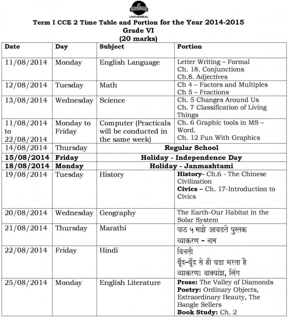 Grade VI – Term I – CCE 2 – Examination Schedule 2014-2015.