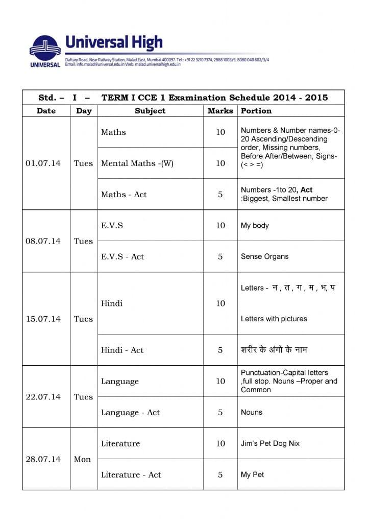 Grade I – CCE Examination Schedule 2014-2015.