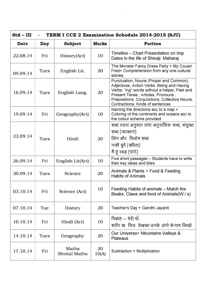 Grade III – Term I – CCE Examination Schedule 2014-2015.