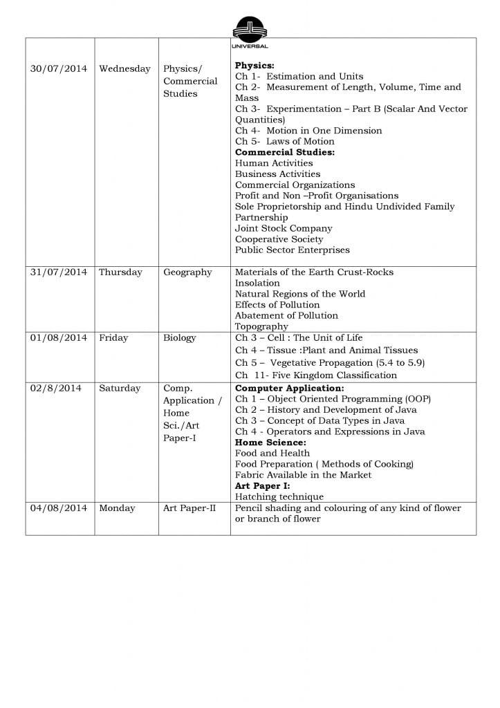 Grade IX – Term I – CCE – Examination Schedule 2014-2015.