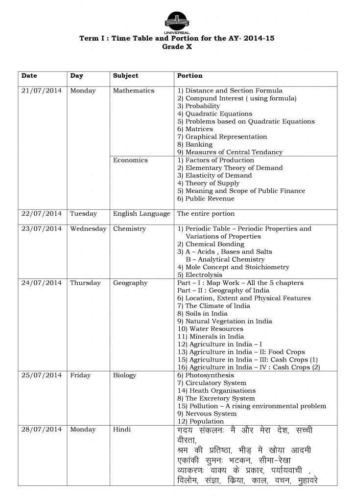 Grade X – Term I – CCE – Examination Schedule 2014-2015.