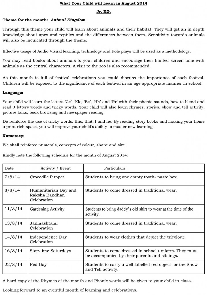 Pre-Primary-Synopsis and Schedule for the month of August 2014.