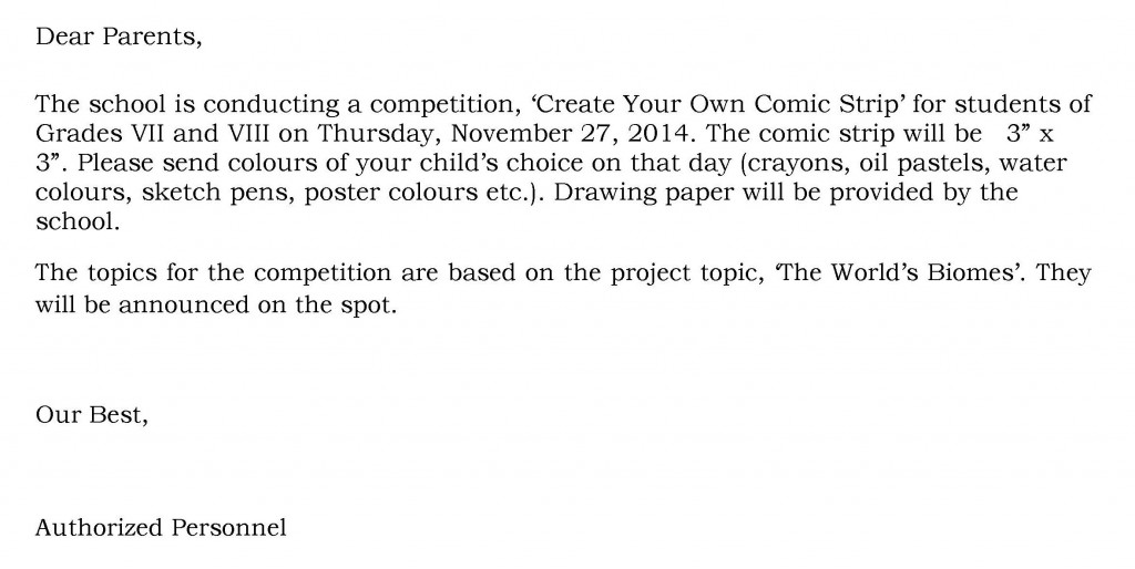UHM/C/34 – Circular for Comic Strip Competition – Grades – VII and VIII.