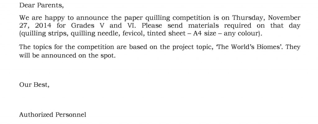 UHM/C/35 – Circular for Paper Quilling Competition – Grades V and VI.