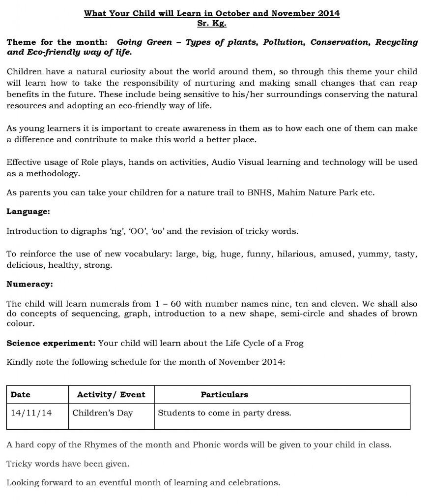SR KG - Synopsis - October and November 2014