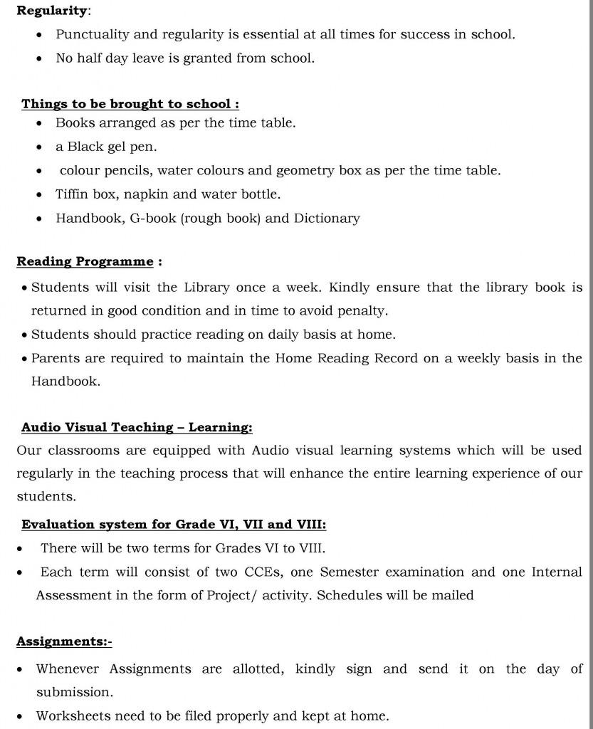 Grade VI, VII and VIII – Orientation letter.