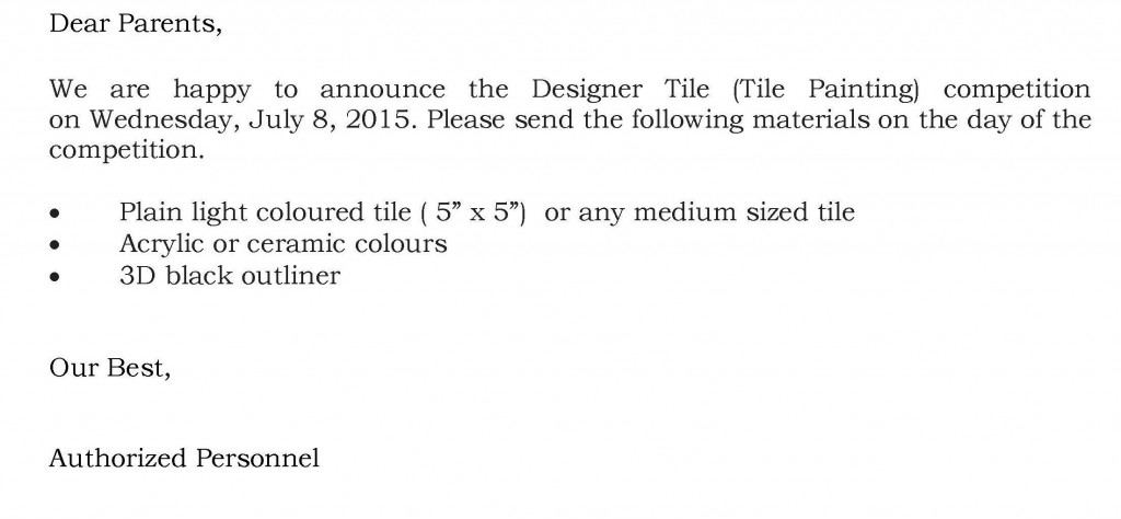 Grades VII and VIII – Circular For Tile Painting Competition.