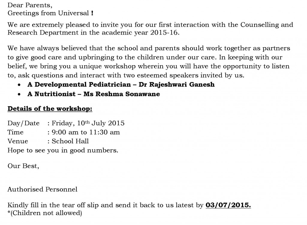 [10] UB Circular for Parent Workshop
