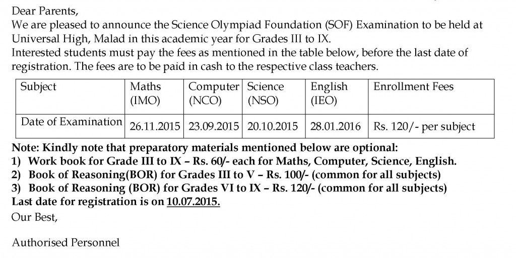 Grades III to IX – Circular For Science Olympiad Foundation (SOF).