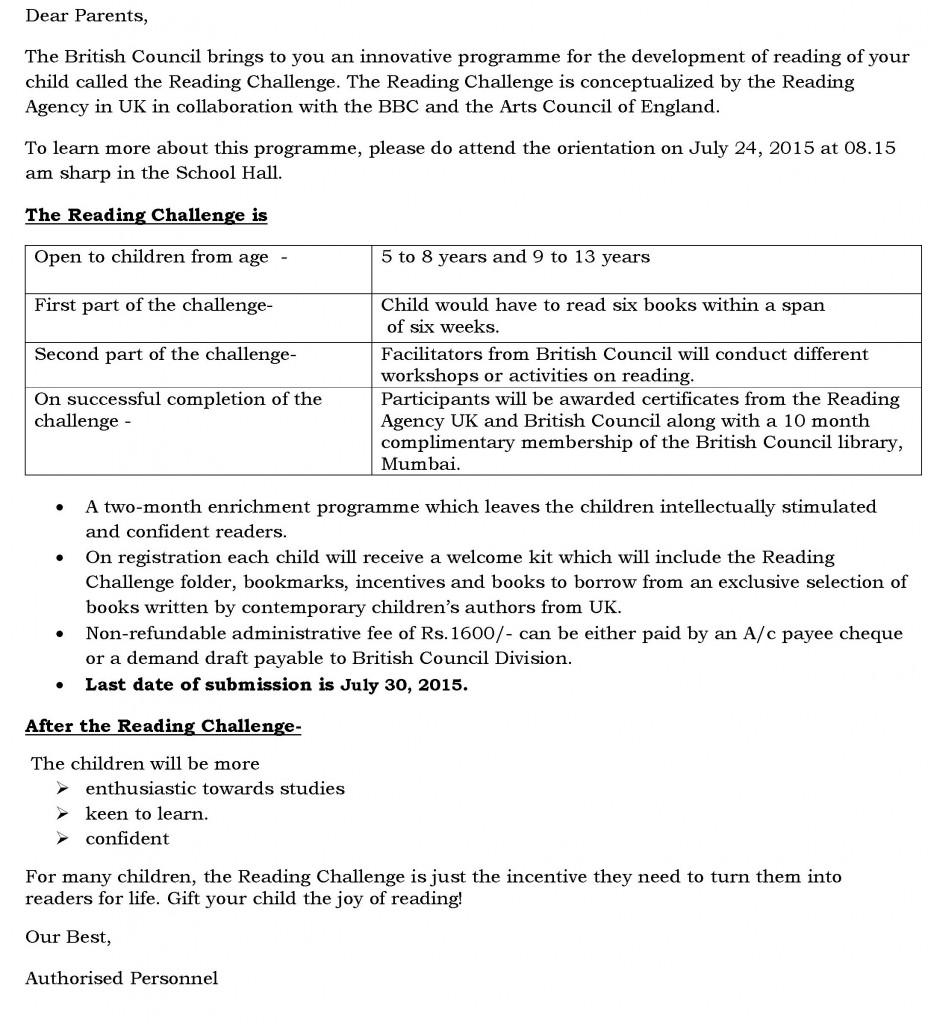 Grades – Sr Kg. – VIII – Circular for Reading Challenge.