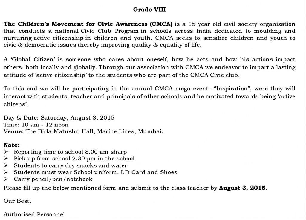 Grade VIII – Circular For The Children's Movement for Civic Awareness (CMCA).