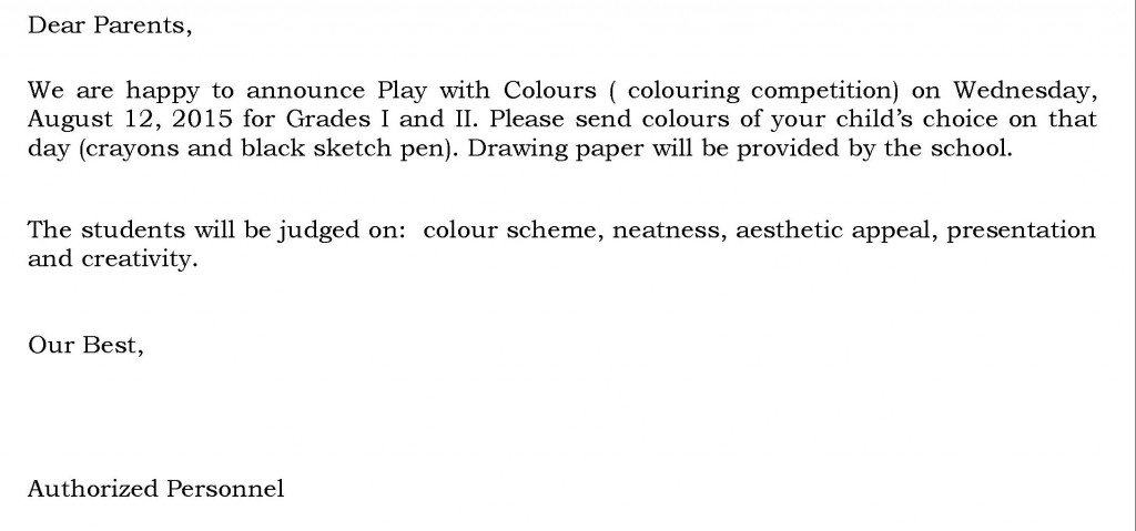 Grades I and II – Circular For Colouring Competition.