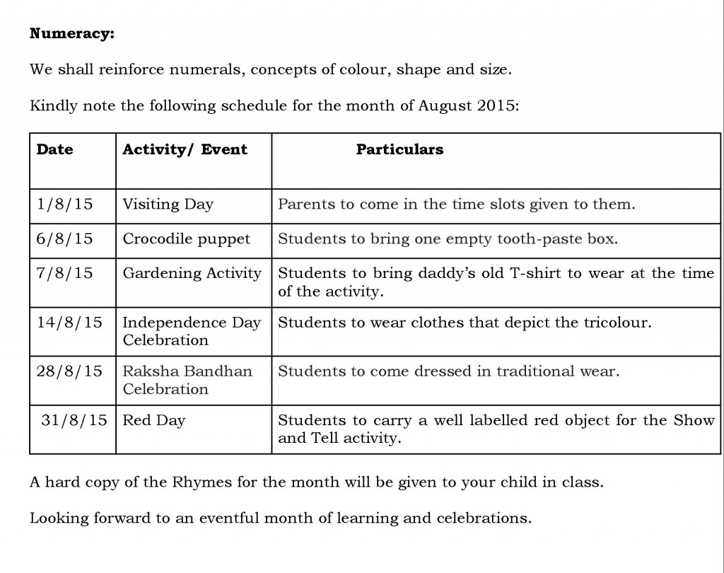 Jr. Kg. – Synopsis and schedule for the month of August 2015.