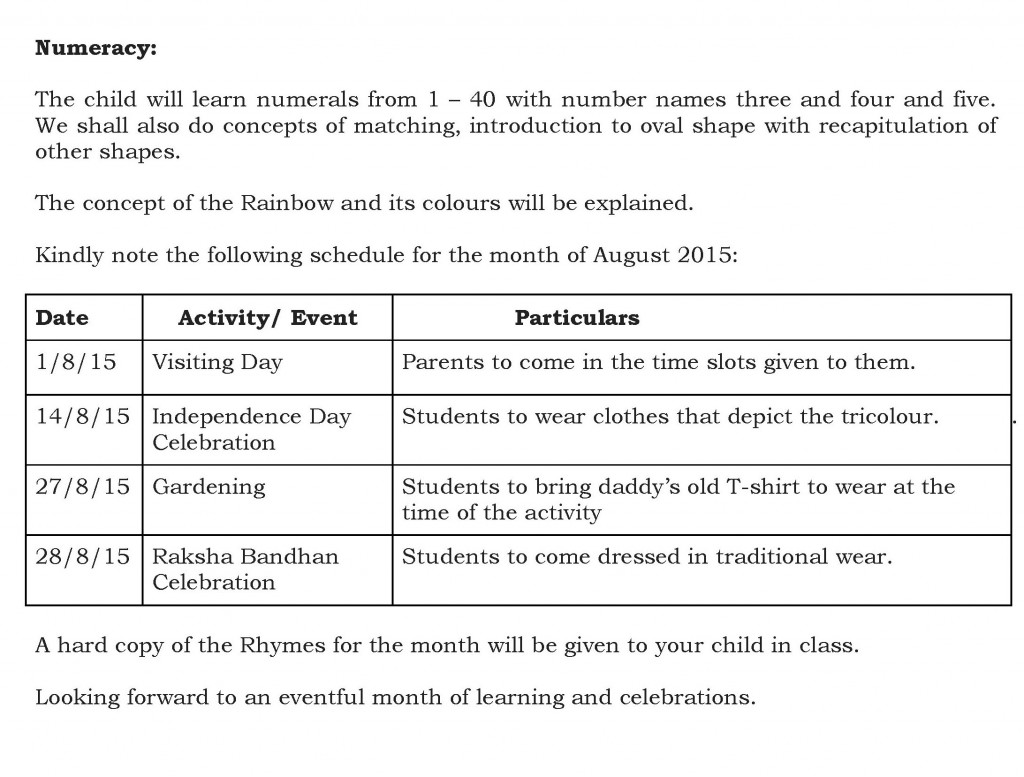 Sr. Kg. – Synopsis and schedule for the month of August 2015.