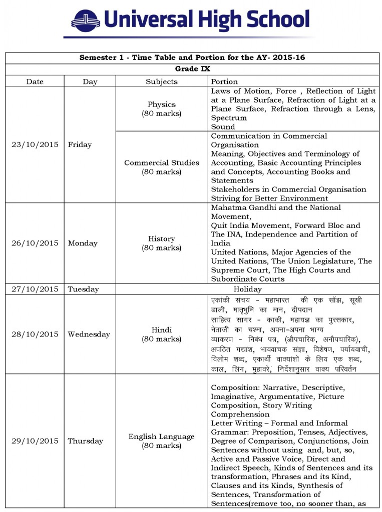 Grade IX – Term I Semester I Time Table and Portion for the AY- 2015-16.