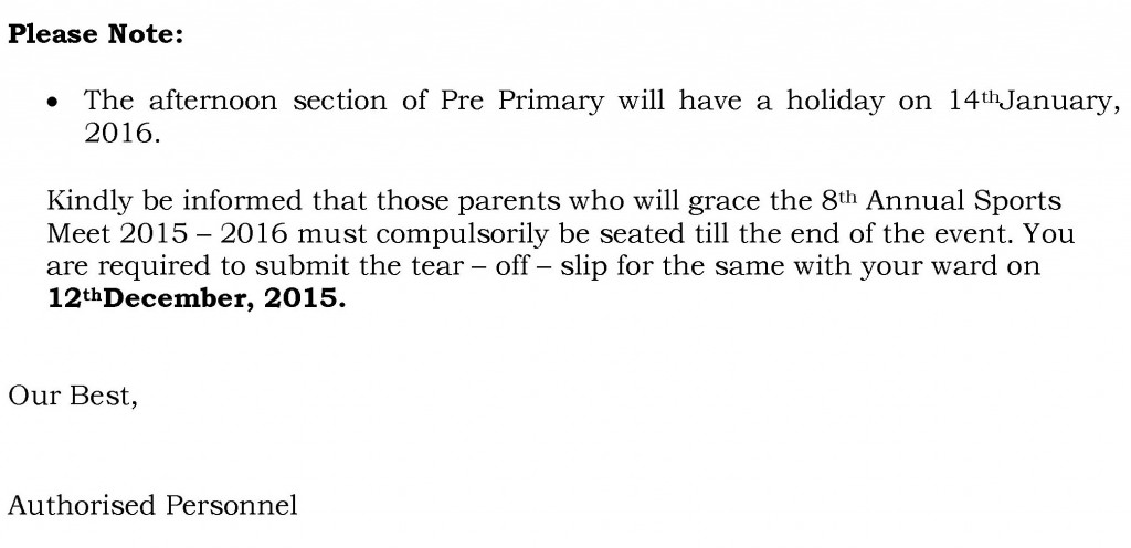 Play Group to Sr. Kg – Circular for Sports Day.