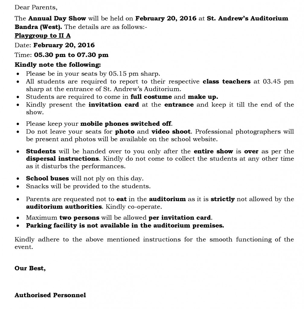 [87] Circular for Annual Day -Grade I and II