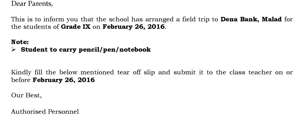 Grade IX – Circular for Field Trip.