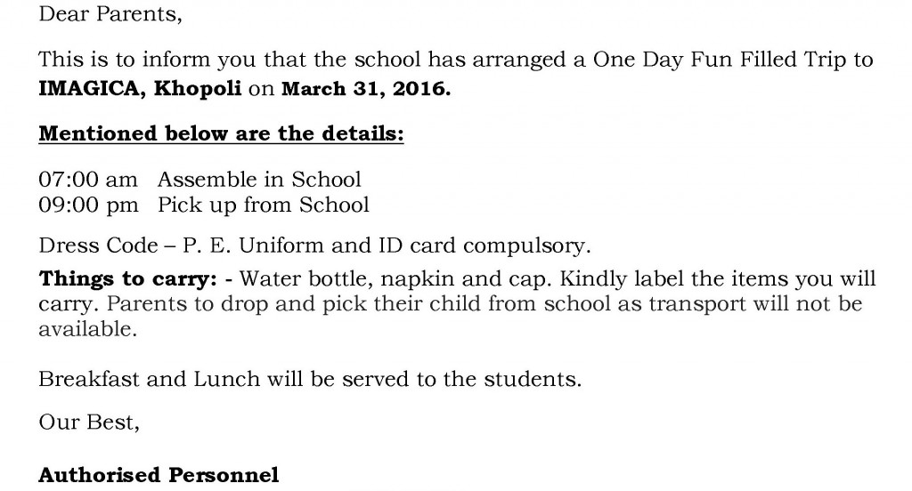 Grade X – Circular for Annual Picnic.