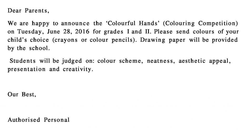 Grade I and II – Circular for Colouring Competition.