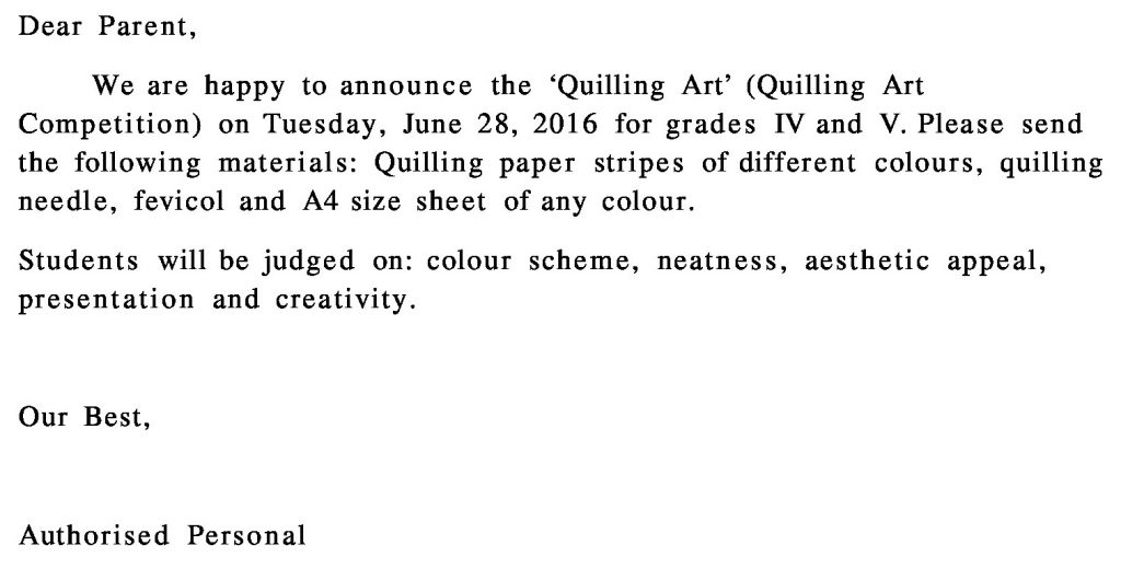Grades IV – V – Circular for Art Competition