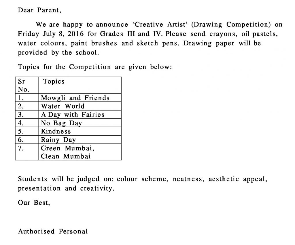 Grade III and IV- Circular for Creative Artists Drawing Competition.
