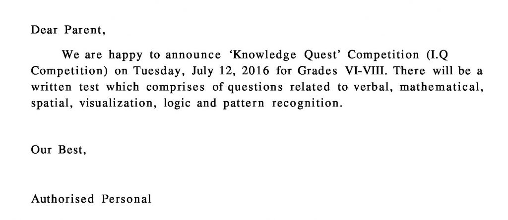 Grades VI-VIII Circular for 'Knowledge Quest' Competition (I.Q Competition)