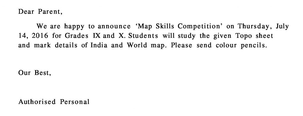 Grades IX and X Circular for 'Map Skills Competition'