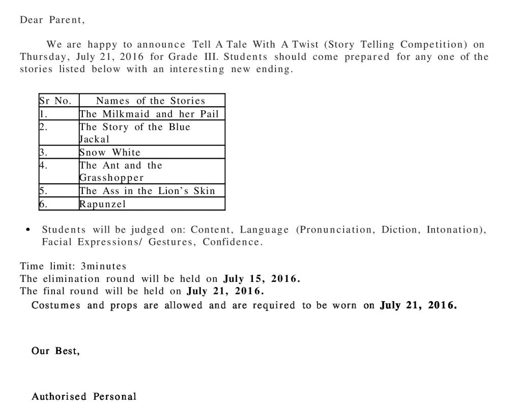 Grade III Circular – Tell A Tale With A Twist (Story Telling Competition)