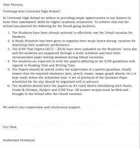 Grade X- Diwali Study Schedule.