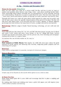 Junior Kg Curriculum Insight October and November 2017