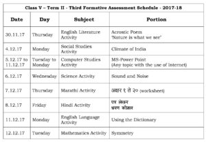 Class V – Term II – Third Formative Assessment Schedule – 2017-18