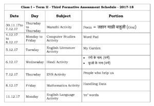 Class I – Term II – Third Formative Assessment Schedule – 2017-18