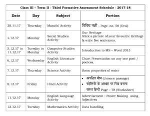 Class III – Term II – Third Formative Assessment Schedule – 2017-18
