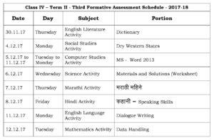 Class IV – Term II – Third Formative Assessment Schedule – 2017-18