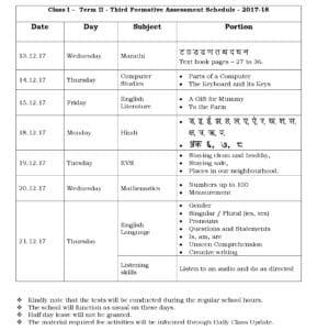 Class 1 Term II – Third Formative Assessment Schedule 2017-18