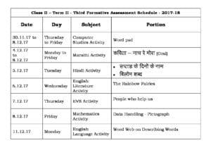 Class 2 Term II – Third Formative Assessment Schedule 2017-18