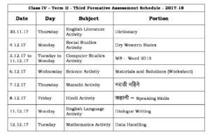 Class 4 Term II – Third Formative Assessment Schedule 2017-18