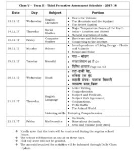 Class 5 Term II – Third Formative Assessment Schedule 2017-18