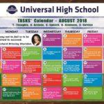 Universal High School TASKS Calendar- August, 2018.