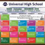 TASKS Calendar- December, 2018 for Primary & Secondary
